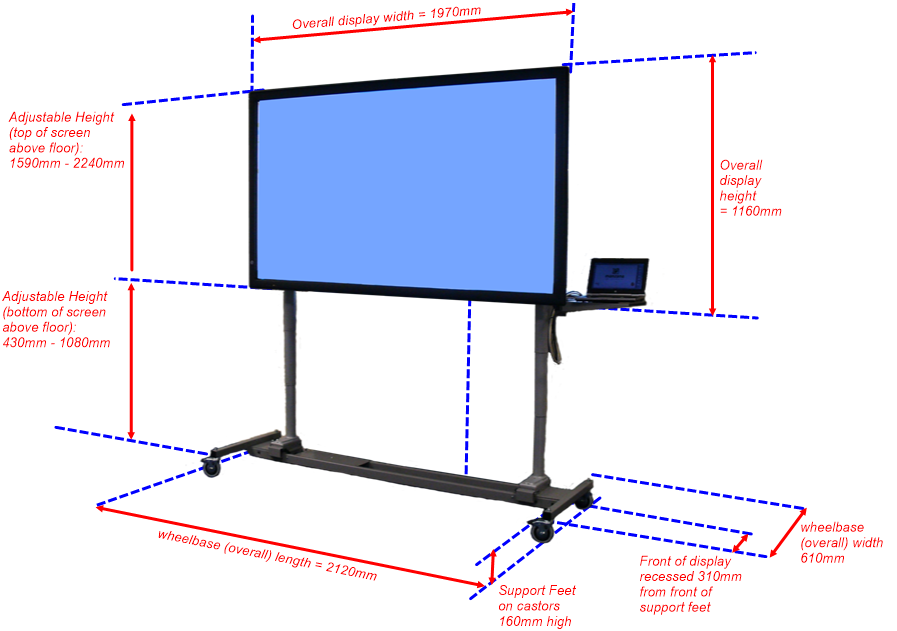 "84"" multi-touch interactive LED display on Flexiroller adjustable height mobile trolley"